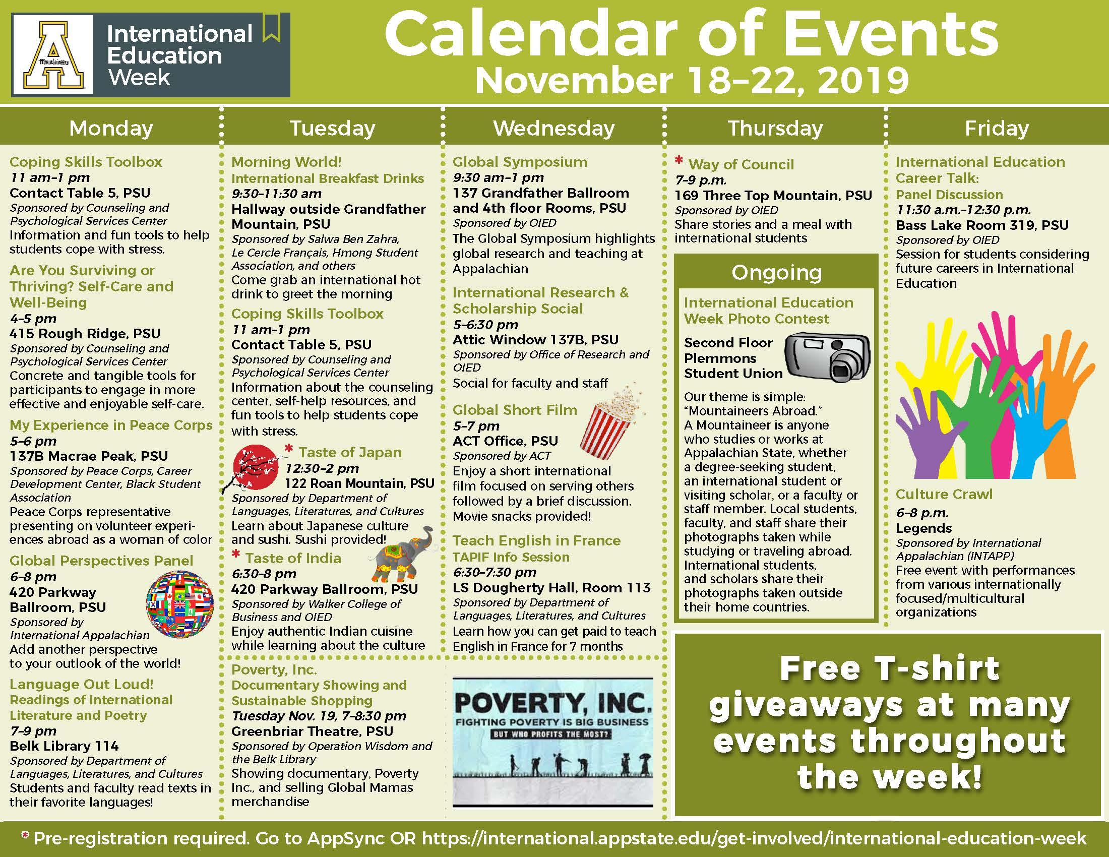 International Education Week Schedule