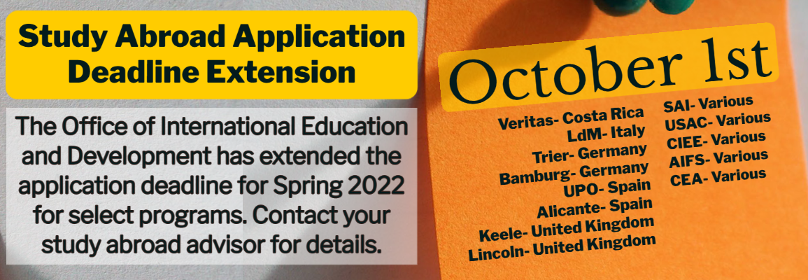 2022 Spring Application Deadline extended to October 1 for select programs
