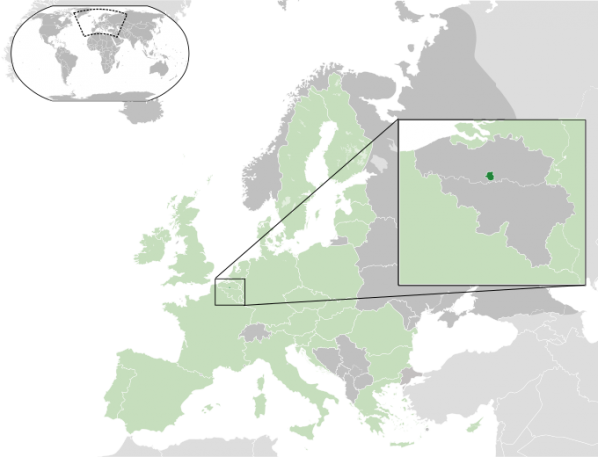 Map showing locations of Brussels within Belgium and the European Union