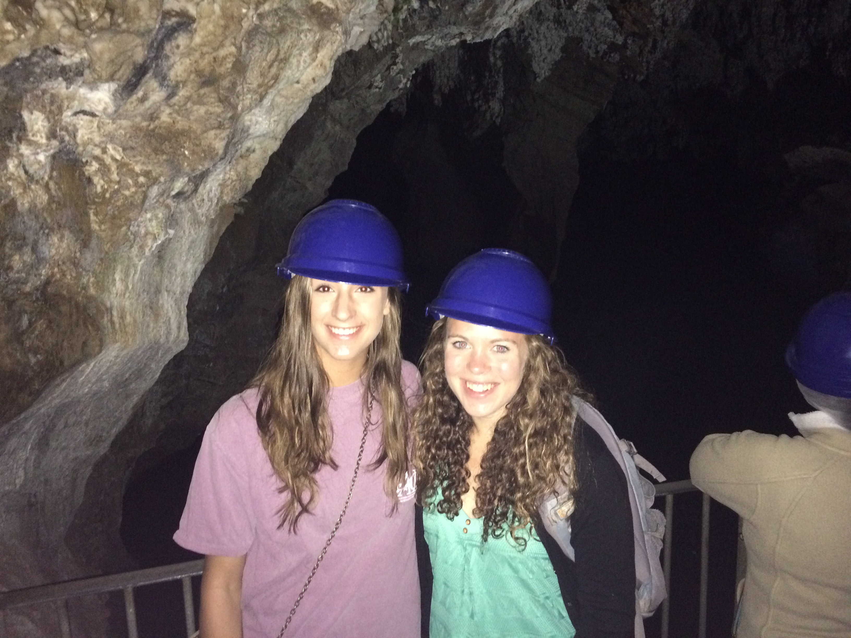 Katie Vaudo and fellow student on cave tour
