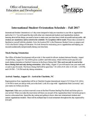 Orientation Schedule