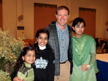 Russell Hiatt, a teacher at Hardin Park School, is pictured with three Pakistani students. Hiatt traveled to Pakistan in spring 2012 as part of an educational and cultural exchange sponsored by Appalachian State University and funded by the U.S. Embassy in Islamabad, Pakistan. (Photo by Nasir Jamal, HITEC)