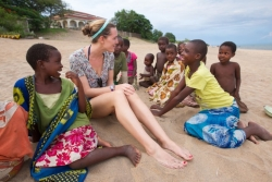 Ellen Mason gets to know local children from the Senga Bay fishing village.
