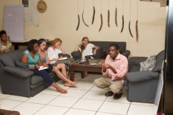 Students learn Chichewa, the language spoken by most people in Malawi.