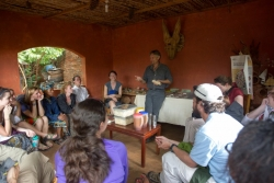 Students visit the home of Kristof Nordin located on the outskirts of Lilongwe. Nordin and his wife, Stacia, have dedicated their lives to permaculture and nutrition in Malawi with the hopes of teaching the community to have a more sustainable and diverse