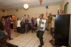 The students get Malawian dance lessons from Masankho Kamsisi-Banda at World Camp.